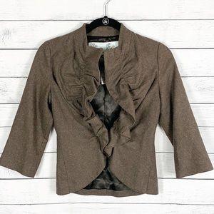 Anthropologie Tabitha Ruffle Wool Blend Blazer